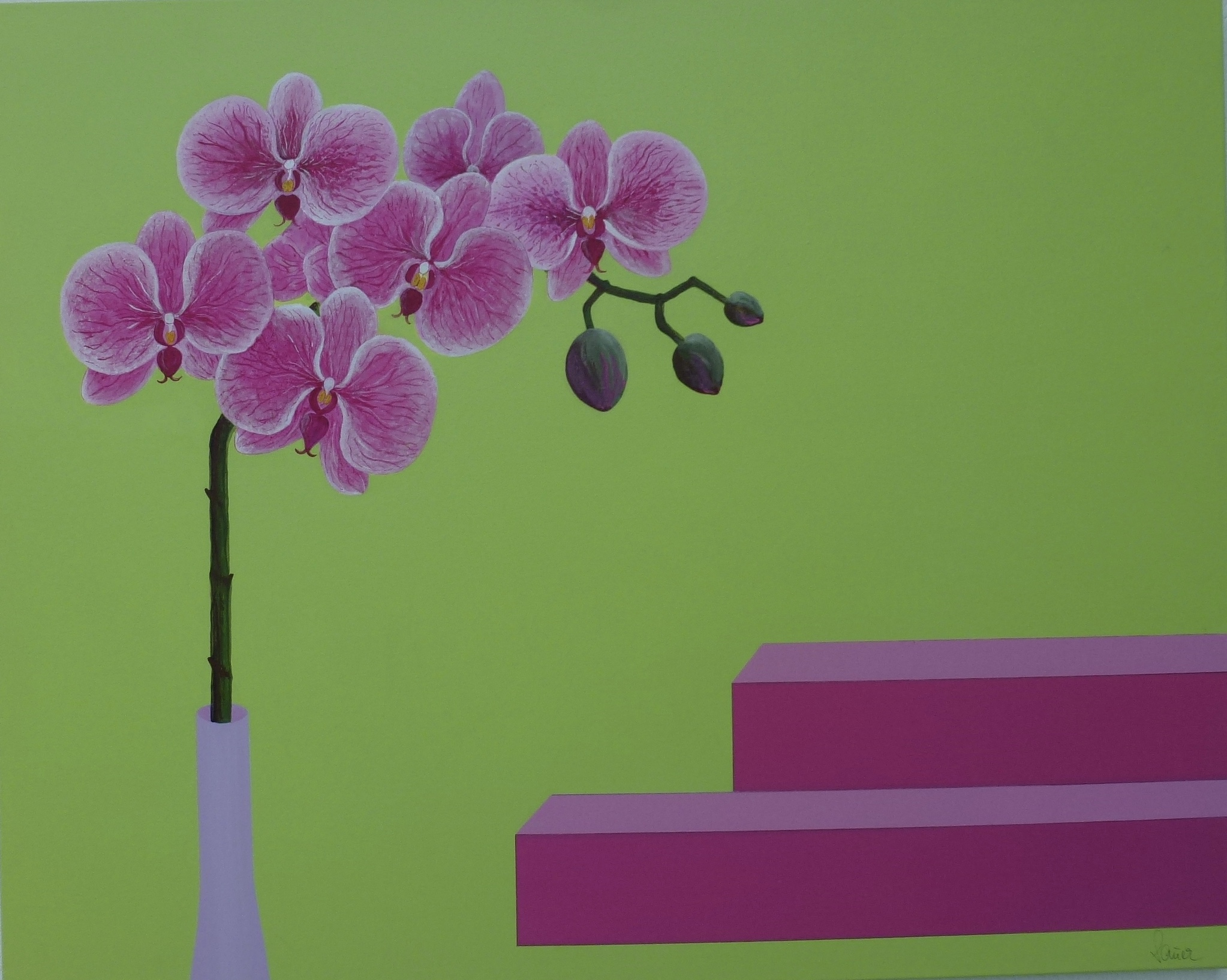 Orchideen in Acryl.