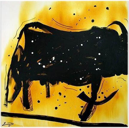 "Modern contemporary Art ""Black Bull"" Unikat"
